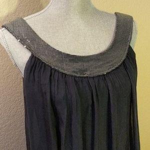 👗NWT Sequined Silk Navy Dress
